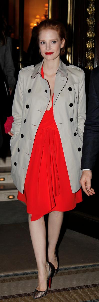 Jessica Chastain en Burberry