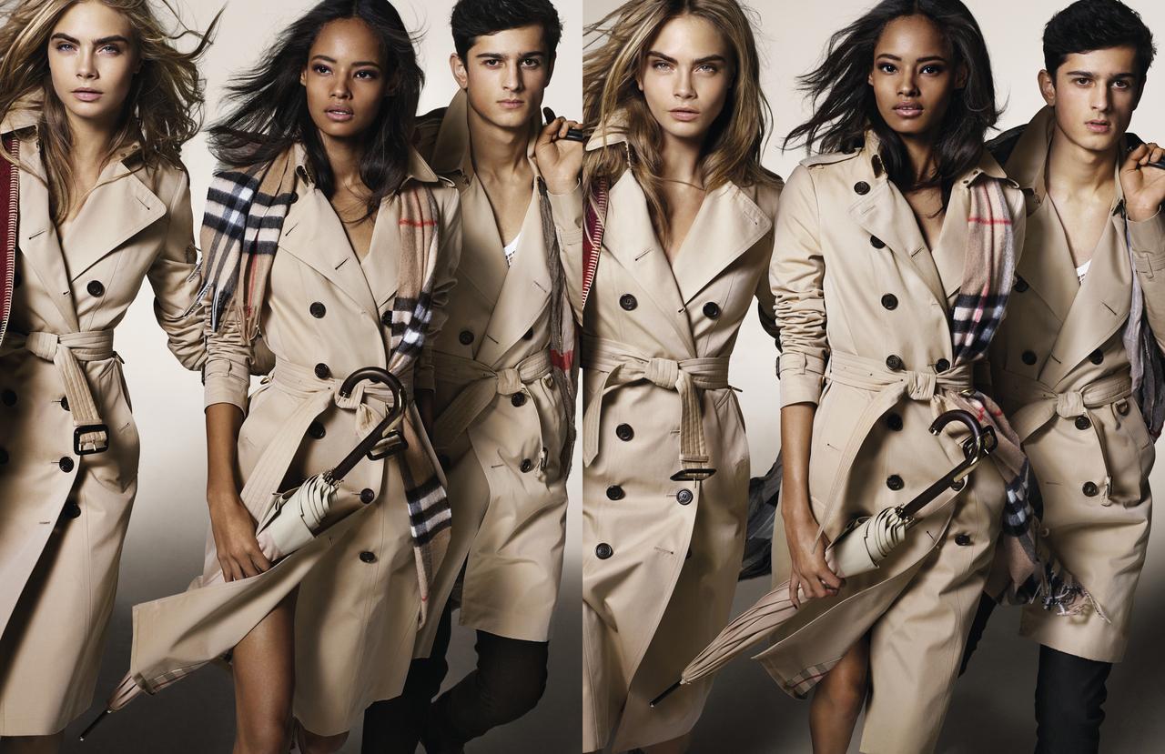 Cara Delevingne, Malaika Firth et Tarun Nijjer - Campagne publicitaire Burberry AH 2014.resized