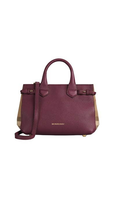 Burberry - The Small Banner in Leather and House Check_elderberry