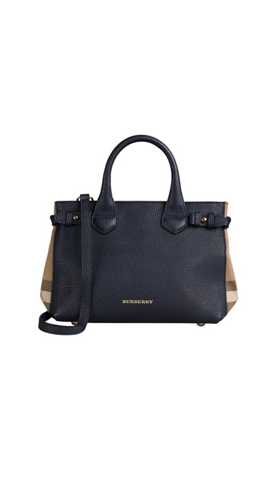 Burberry - The Small Banner in Leather and House Check_midnight blue