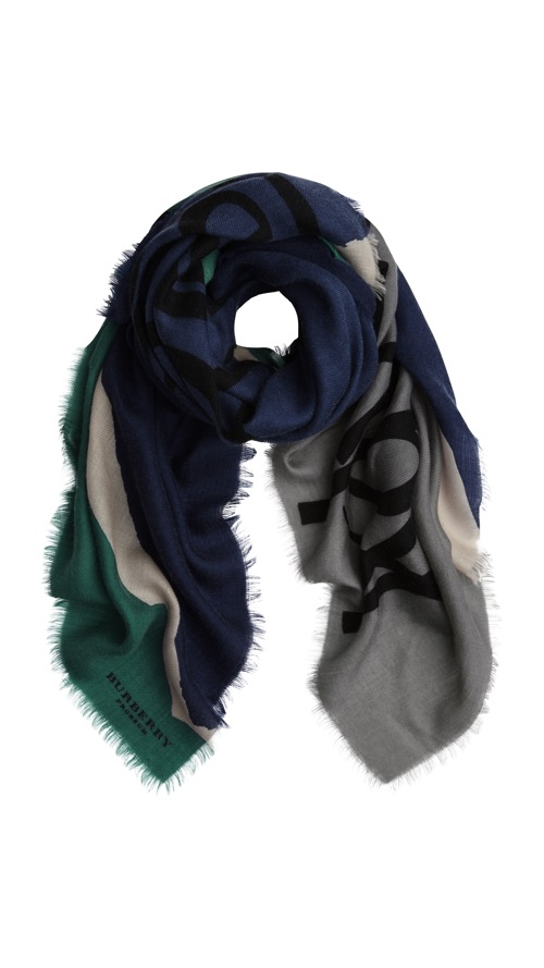 121. Woven Cashmere Scarf_ink print green