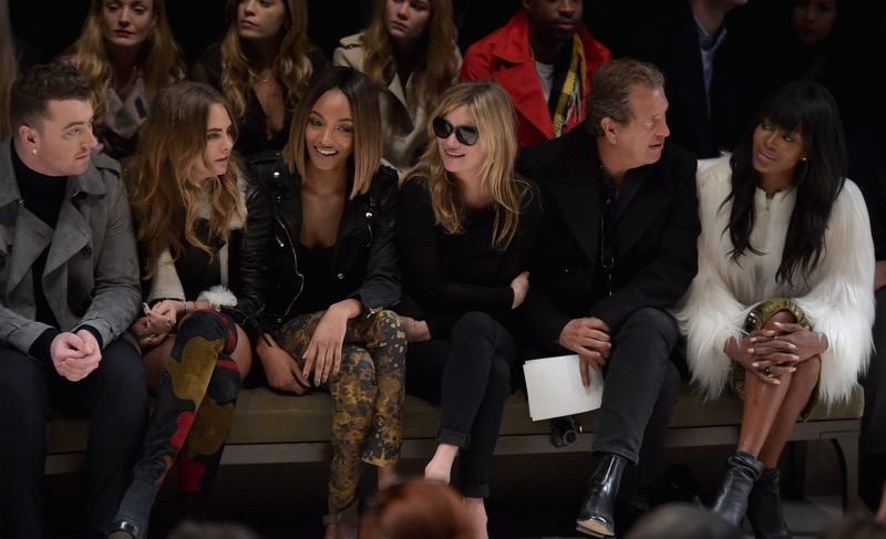 Sam Smith, Cara Delevingne, Jourdan Dunn, Kate Moss, Mario Testino and Naomi Campbell - On the front row at the Burberry Womenswear AW 2015 Show