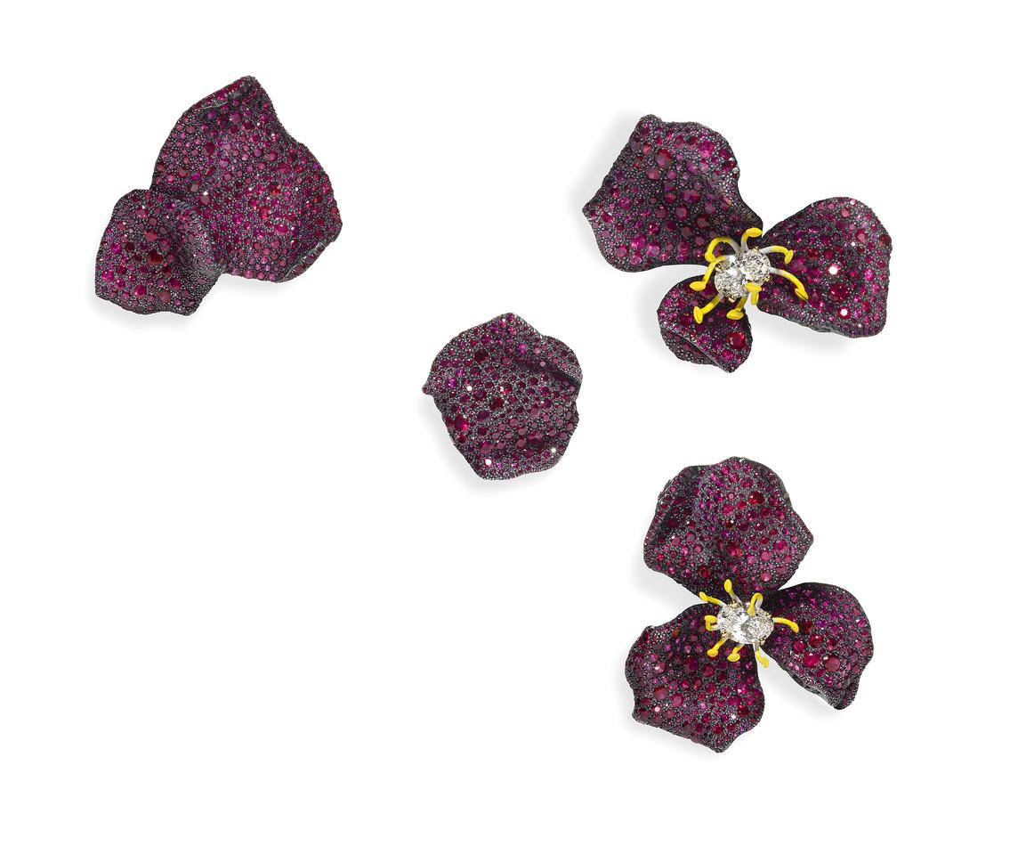 CINDY CHAO The Art Jewel_Four Seasons Collection_Ruby Rose Brooches