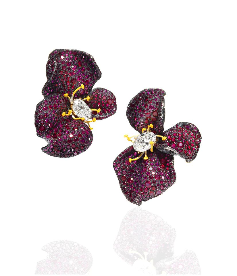 CINDY CHAO The Art Jewel_Four Seasons Collection_Ruby Rose Earrings